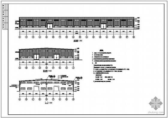 某2×24米跨带吊车轻钢厂房建筑结构设计图