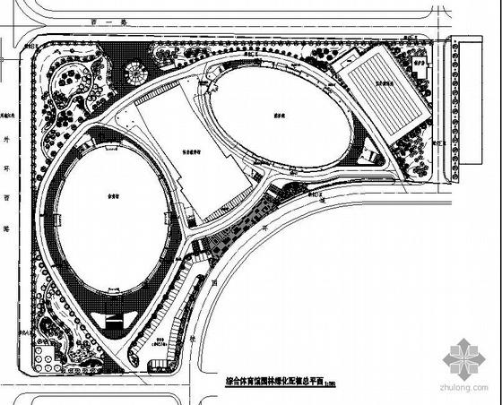 广州大学体育场田径场园林绿化工程图纸