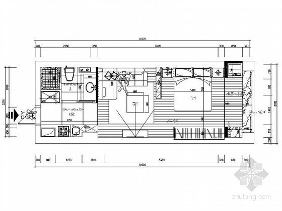 [临海]美景花园现代风格一居室装修施工图