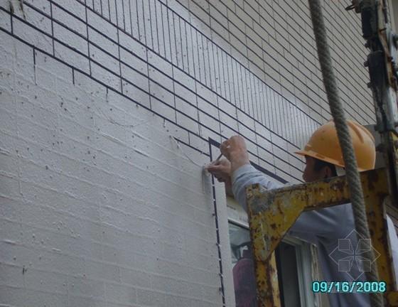 建筑外立面面砖效果真石漆造型施工工法