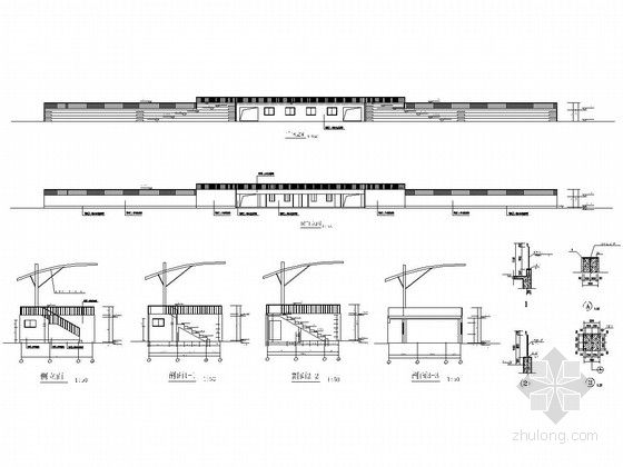 部分框架及部分砖混结构学校运动场看台结构施工图(含建筑图)