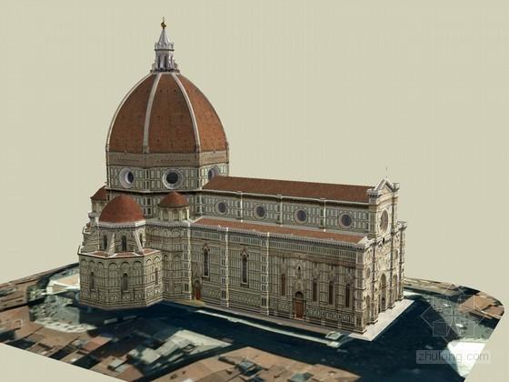 欧式教堂SketchUp模型下载-欧式教堂