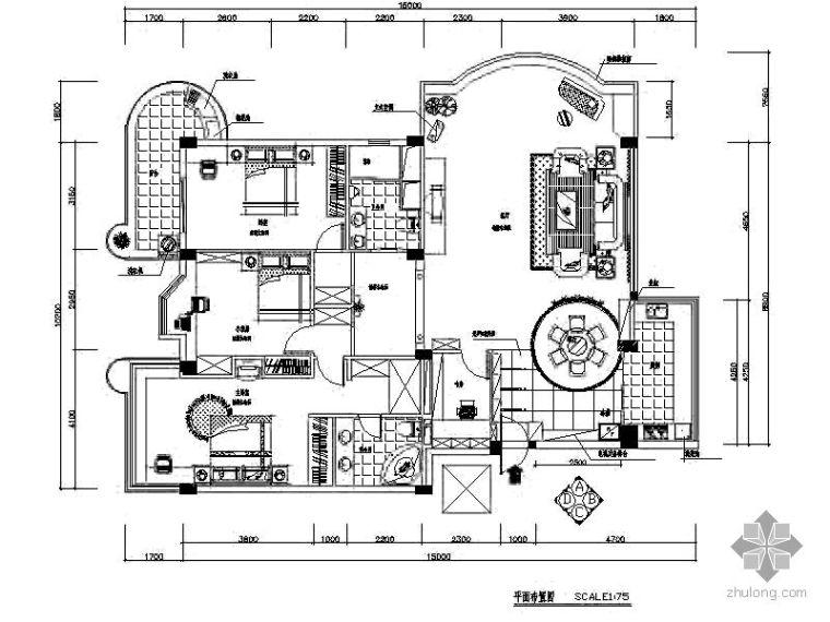 148㎡三室二厅装修图
