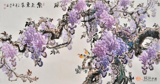 蒋伟八尺横幅写意花鸟画《紫气东来》 作品来源:易从网紫藤仙鹤图