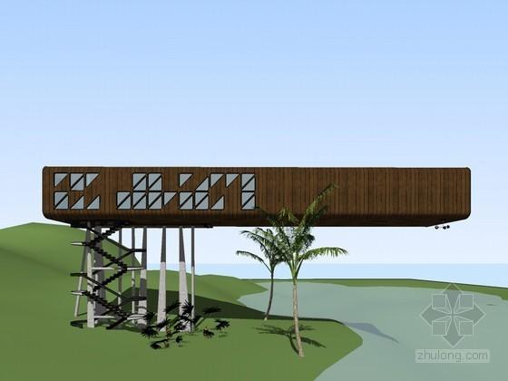 滨河建筑SketchUp模型下载