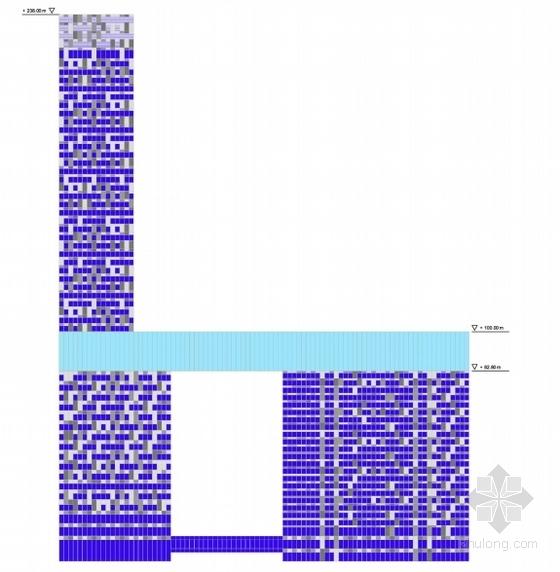 玻璃幕墙超高城市综合体立面图