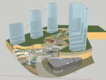 仿照难波公园的一个商业建筑SU模型