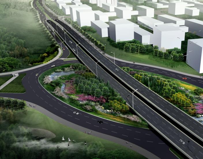[湖北]中华一路道路景观规划设计(PDF+66页)-节点鸟瞰