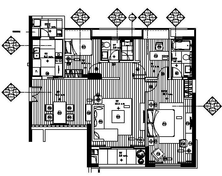 梁志天——珠海东方三套不同户型样板间施工图设计