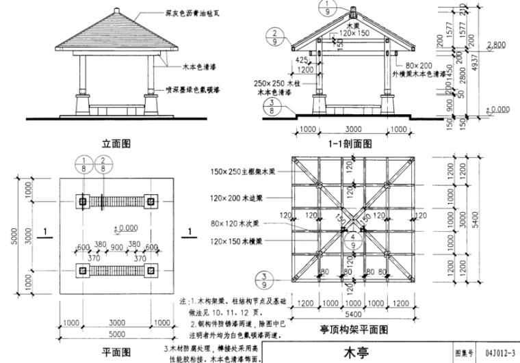 室外景观工程图集-环境景观-亭、廊、架