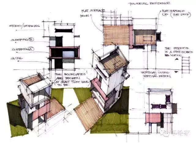百年经典建筑设计手绘图_27