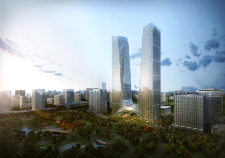 [河南]超高层绿地多功能地标性双塔办公楼建筑设计方案文本