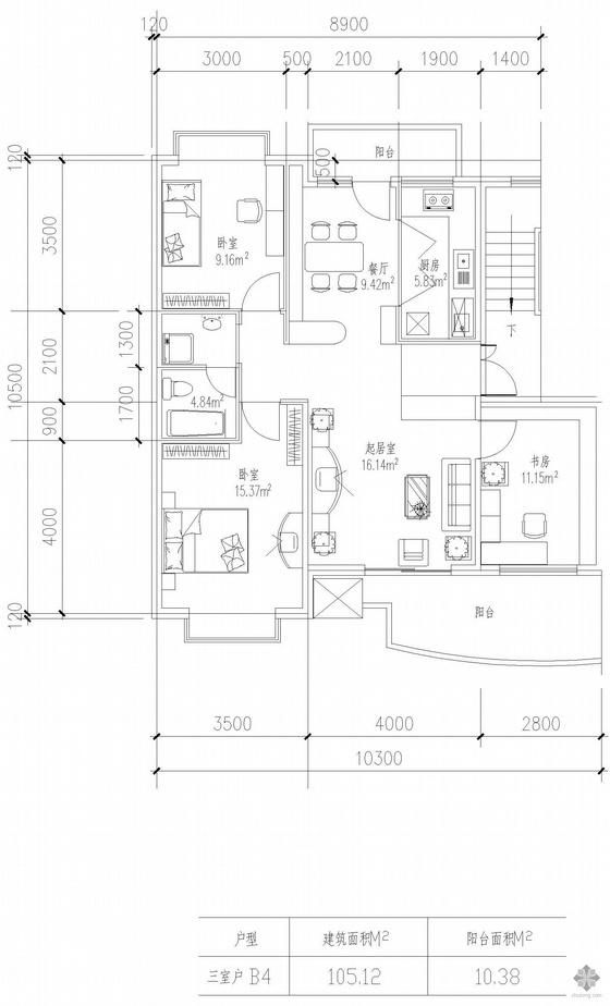 板式高层三室一厅单户户型图(105)