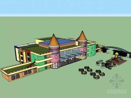 城堡式幼儿园SketchUp模型下载