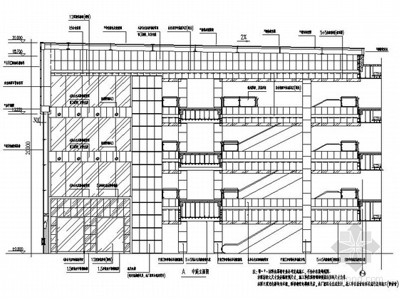 [昆山]繁华商业区现代百货商场室内CAD装修图(含效果)中庭立面图