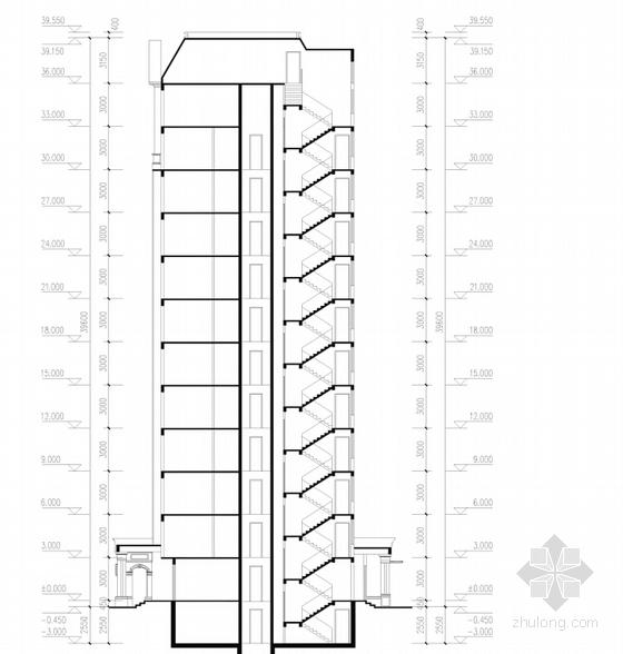 高层欧式古典风格住宅区规划剖面图