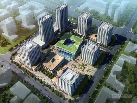 [上海]辐射组合型现代化商业及办公综合体设计方案文本