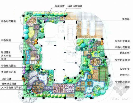 高档别墅花园景观方案