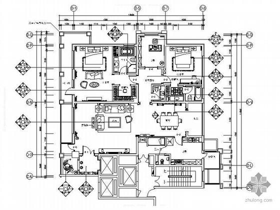 三居高档住宅A标准户型装修图
