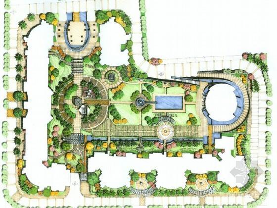 居住区组团绿地景观手绘设计方案