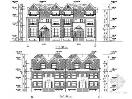 三层框架结构叠拼别墅(带大地下室)建筑结构施工图