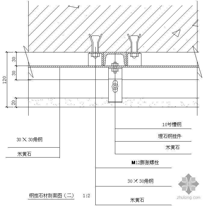 某钢挂石材剖面节点构造详图(二)