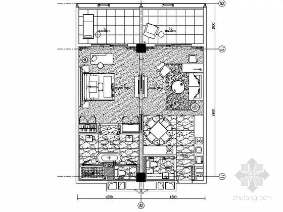 [南京]四星级高档酒店标准房室内装修施工图