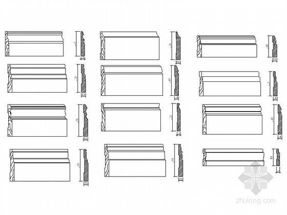 现代踢脚线CAD图块下载资料图纸总缩略图