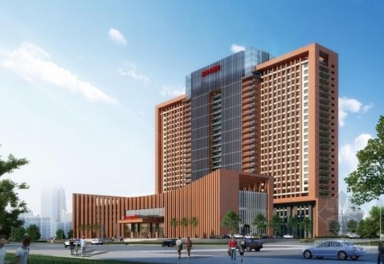 [广西]红砖立面高层儿童医院建筑设计方案文本-红砖立面高层儿童医院效果图