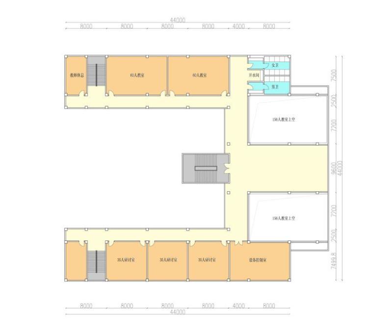 [安徽]高层新中式风格坡顶党校建筑设计方案文本-高层新中式风格坡顶党校建筑平面图