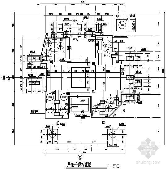 空气、天然气、氮氢气联合压缩机基础结构施工图