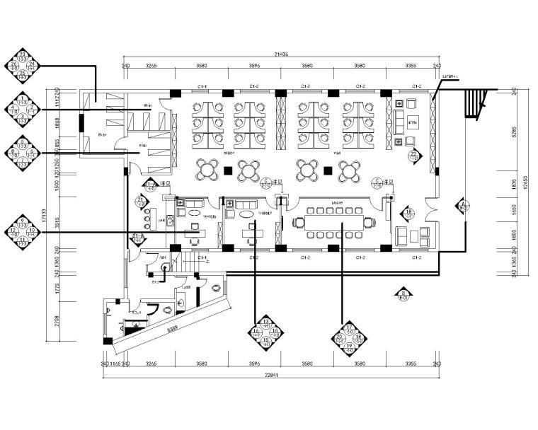烟厂行政楼办公处装修设计施工图