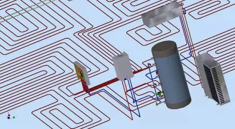 """59张图,12步骤,展示热泵""""空调+地暖""""两联供施工细节"""