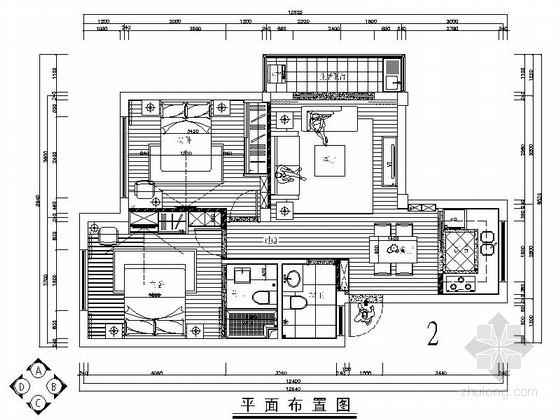 简约现代风格两居室装修施工图