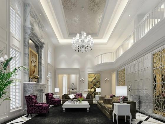 简约欧式别墅客厅装修3D模型下载