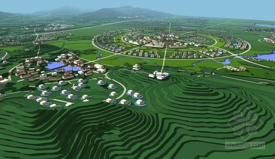 [山东]文化休闲度假首善之都总体设计方案-鸟瞰效果图