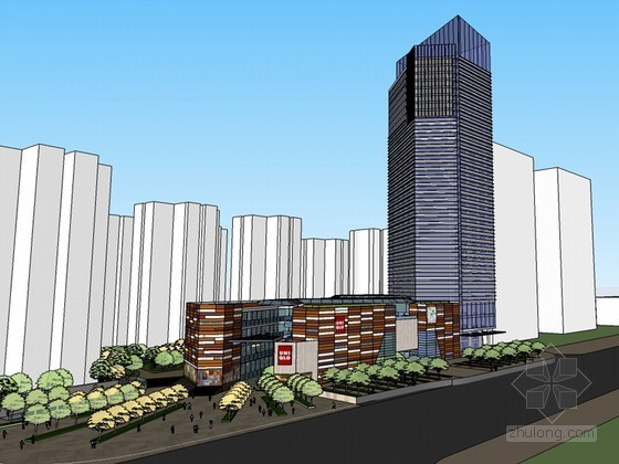 现代办公建筑SketchUp模型下载
