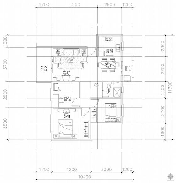 板式多层单户二室二厅一卫户型图(91)