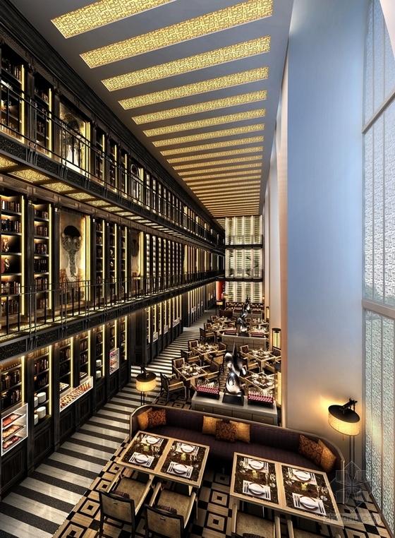 [北京]东三环CBD全球控股超五星级高端豪华白金酒店施工图(含效果)就餐大厅效果图