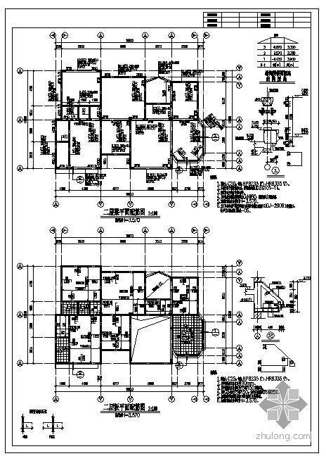 某3层坡屋面别墅结构图