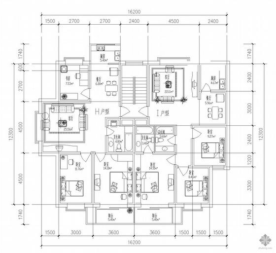 板式多层一梯两户户型图(100/107)