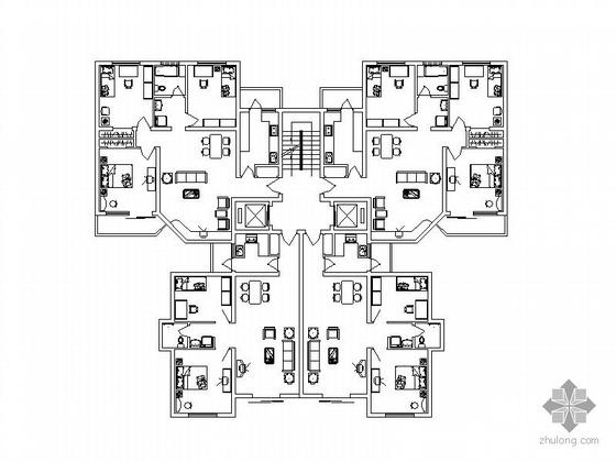 塔式高层一梯四户型图(125/97)