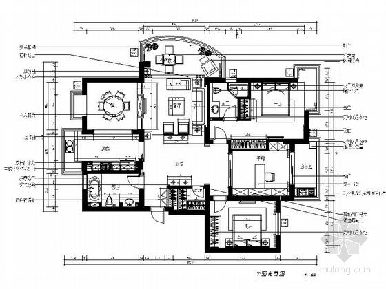 [江苏]某150平三室两厅样板间室内装修施工图(含效果)