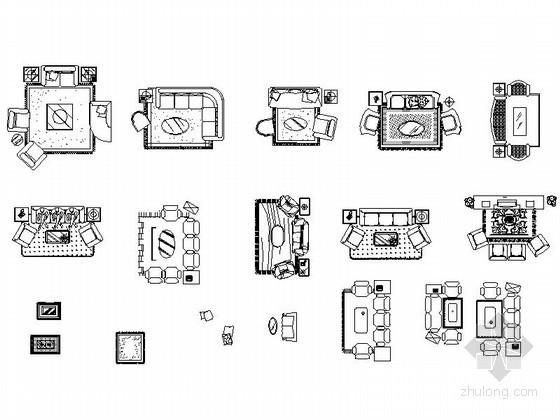 u型楼梯cad图块资料下载-全套家居平面CAD图块下载