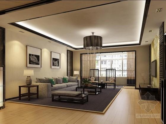 现代中式风格客餐厅3d模型下载