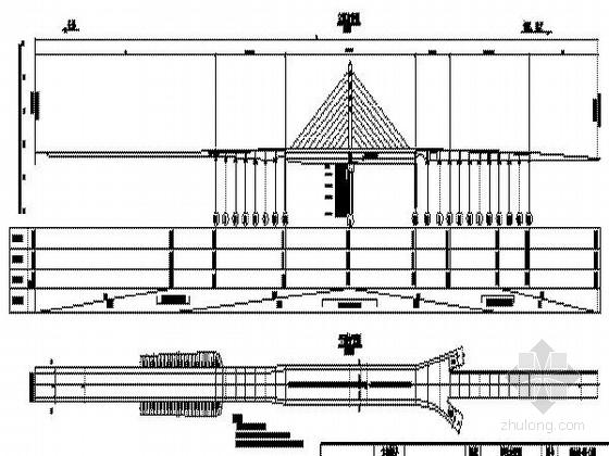 城市主干道85+85m两跨单索面斜拉桥方案设计(CAD图)