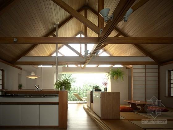 木屋别墅开放式厨房餐厅3d模型下载