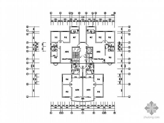 塔式高层一梯四户型图(159/100)