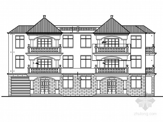 [海口]某三层双拼别墅建筑施工图