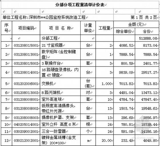 [深圳]公园监控系统改造工程投标书(商务标+技术标)